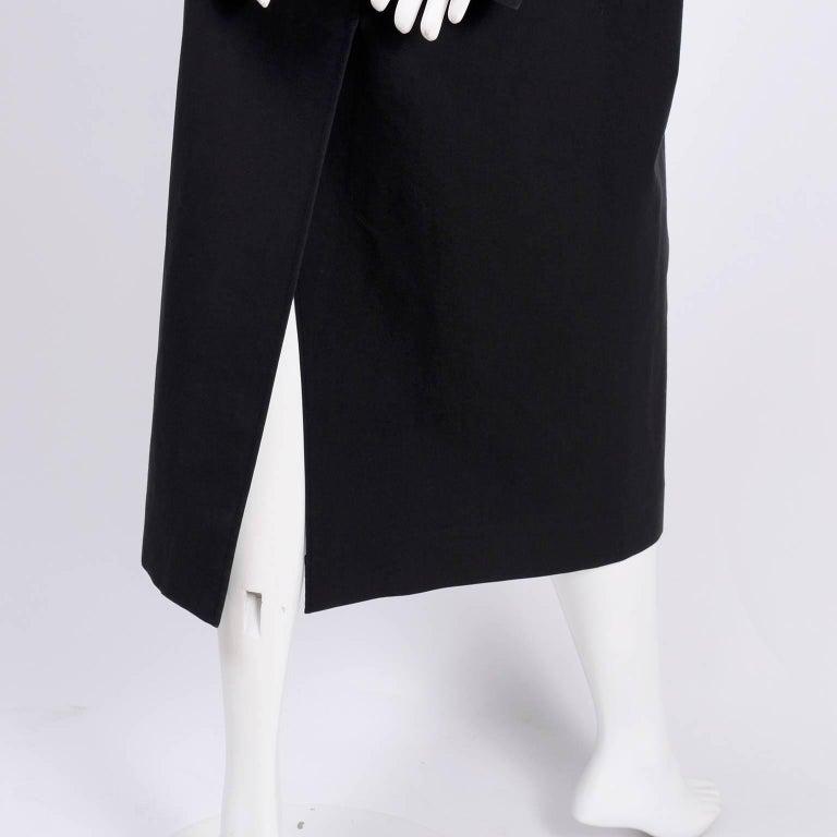 Celine Black Raincoat With Metal Toggle Buckles & Pockets Size 40 For Sale 2