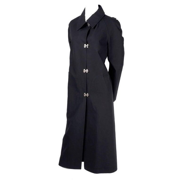 Celine Black Raincoat With Metal Toggle Buckles & Pockets Size 40