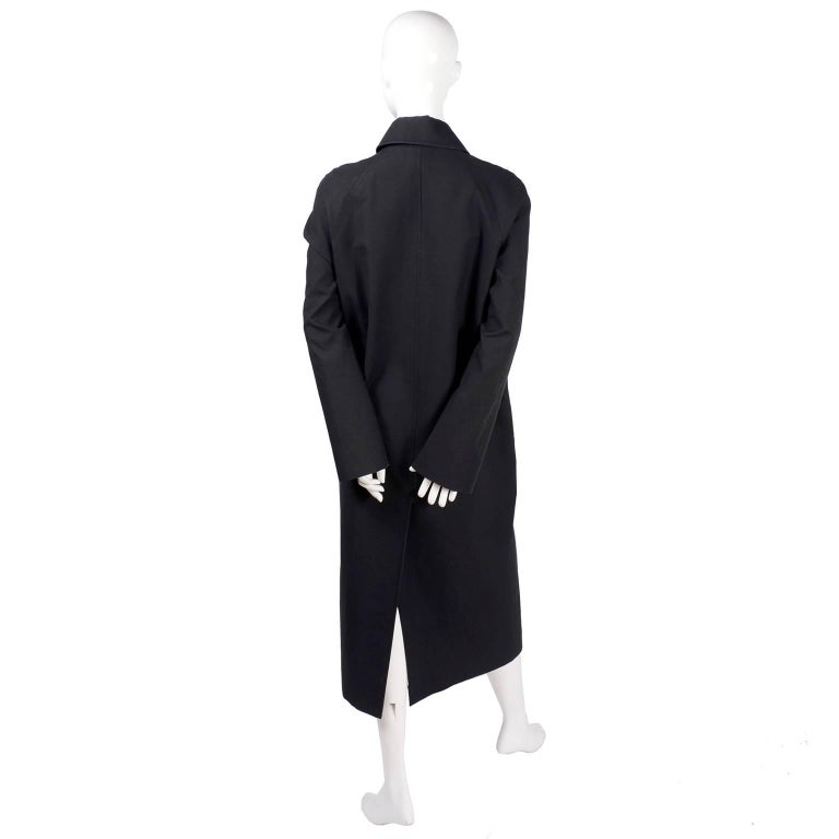 Celine Black Raincoat With Metal Toggle Buckles & Pockets Size 40 For Sale 1