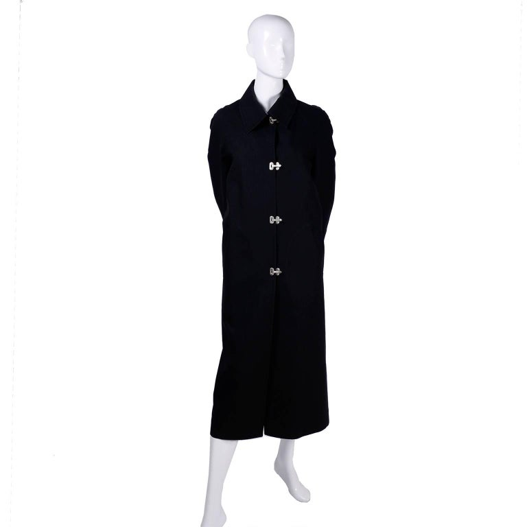 Celine Black Raincoat With Metal Toggle Buckles & Pockets Size 40 For Sale 4