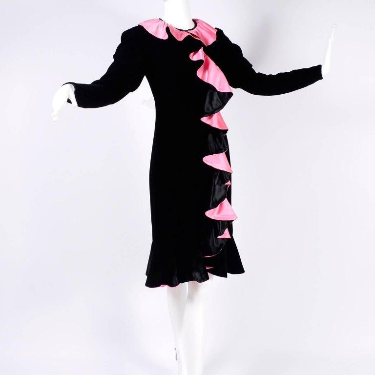 Women's 1980s Oscar de la Renta Vintage Dress in Black Velvet with Pink Satin Ruffles For Sale