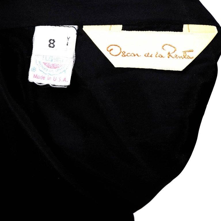 1980s Oscar de la Renta Vintage Dress in Black Velvet with Pink Satin Ruffles For Sale 9