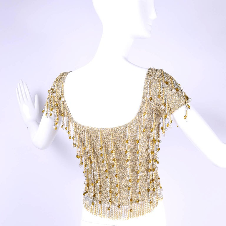 Loris Azzaro Beaded Silver and Gold Metallic Crochet Top with Chains, 1970s For Sale 5