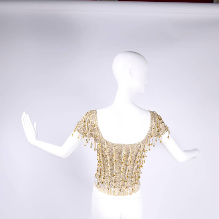 Loris Azzaro Beaded Silver and Gold Metallic Crochet Top with Chains, 1970s For Sale 1