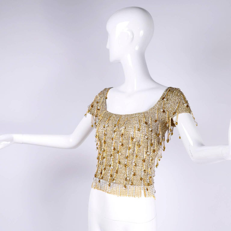 Beige Loris Azzaro Beaded Silver and Gold Metallic Crochet Top with Chains, 1970s For Sale
