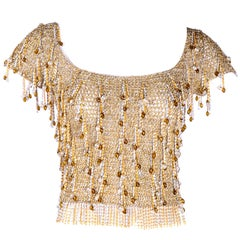 1970s Beaded Loris Azzaro Top in Silver & Gold Metallic Crochet with Chains