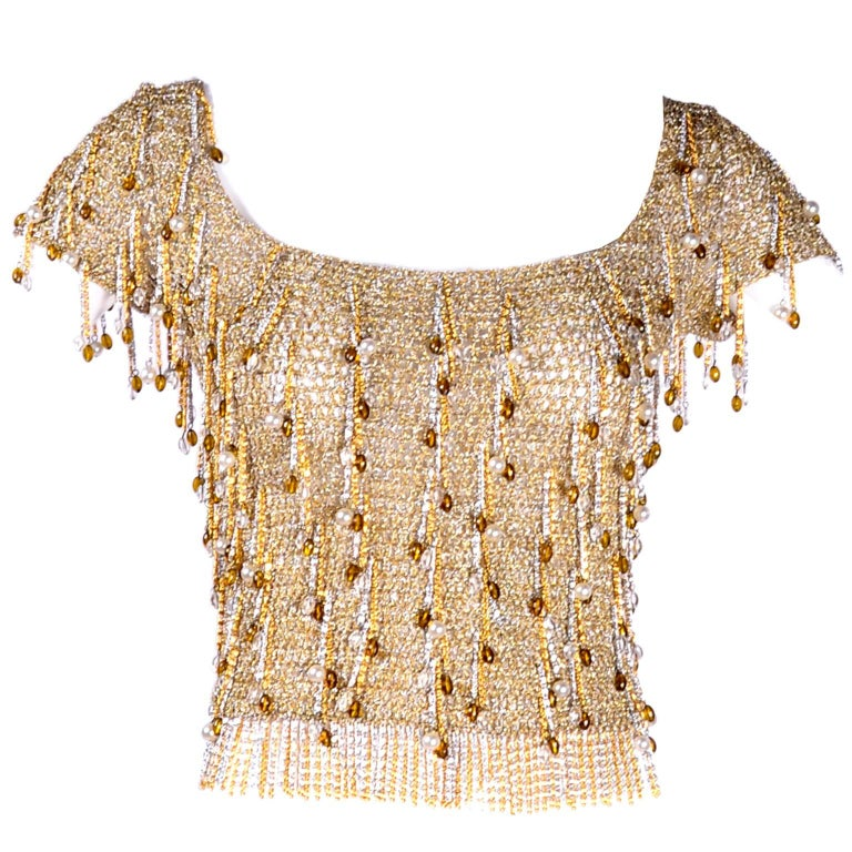 Loris Azzaro Beaded Silver and Gold Metallic Crochet Top with Chains, 1970s For Sale