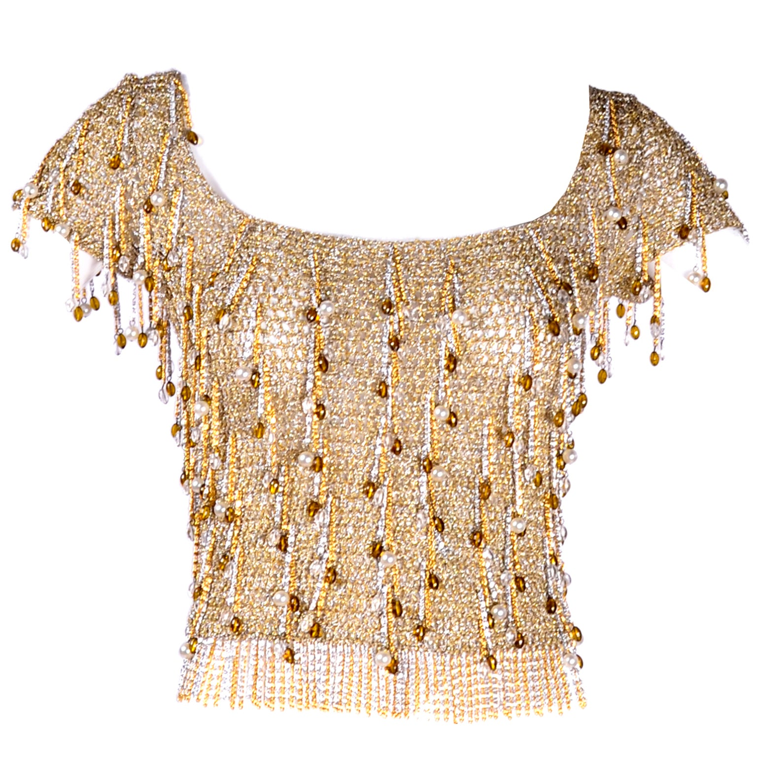 Loris Azzaro Beaded Silver and Gold Metallic Crochet Top with Chains, 1970s