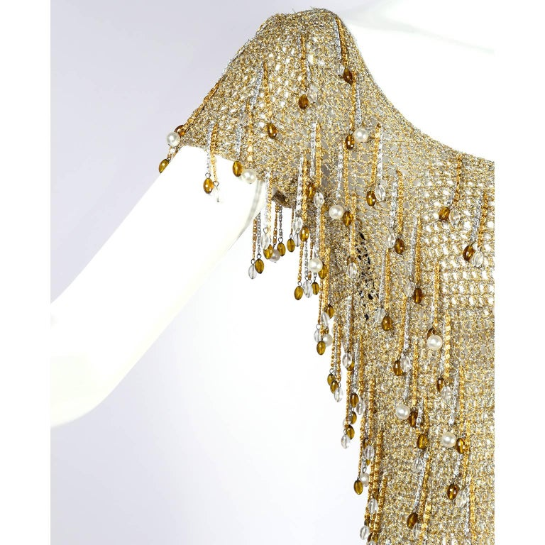 Loris Azzaro Beaded Silver and Gold Metallic Crochet Top with Chains, 1970s For Sale 2