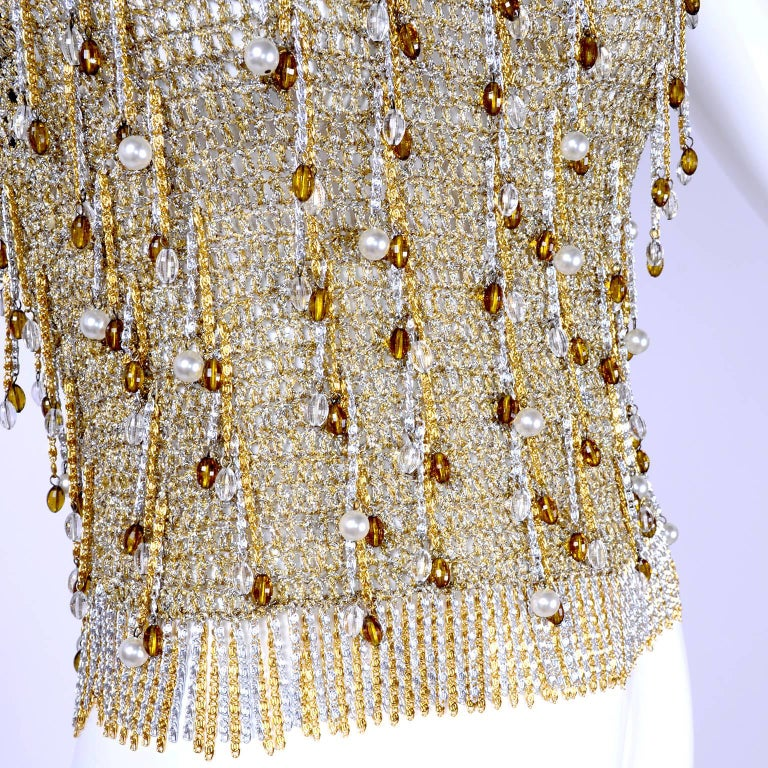 Loris Azzaro Beaded Silver and Gold Metallic Crochet Top with Chains, 1970s For Sale 4