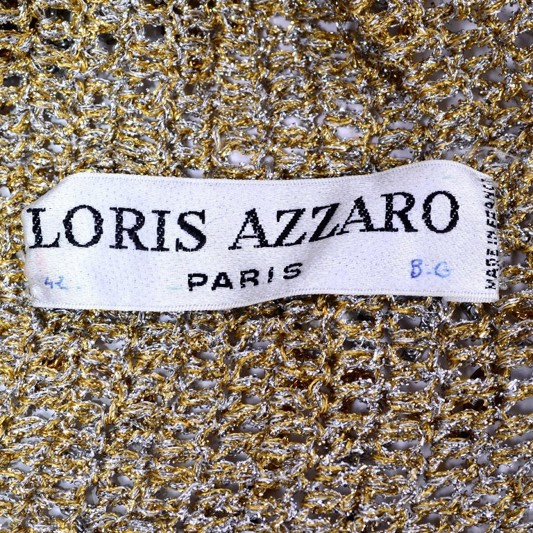 Loris Azzaro Beaded Silver and Gold Metallic Crochet Top with Chains, 1970s For Sale 6