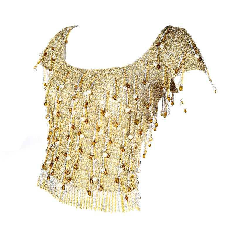 Loris Azzaro Beaded Silver and Gold Metallic Crochet Top with Chains, 1970s For Sale 7