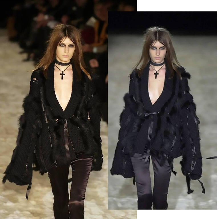 This is an outstanding runway famous jacket designed by Tom Ford for Gucci in a luxurious black chunky wool with black silk ribbons and gorgeous black fox fur. This outstanding sweater style  jacket ties with a black silk ribbon in the front and is