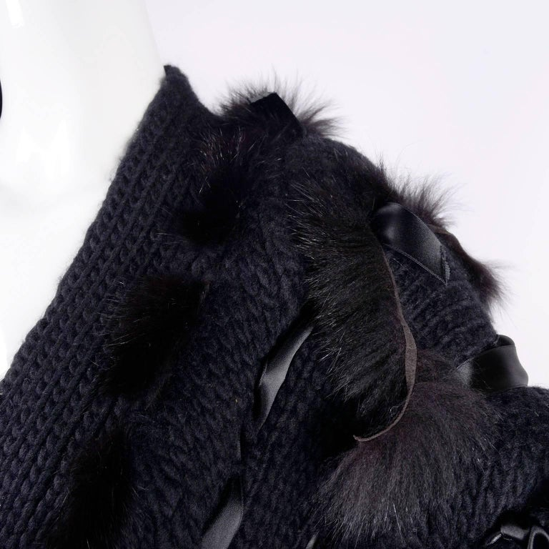 Tom Ford for Gucci Fox Fur Black Knit Chunky Sweater Jacket, 2002  For Sale 4