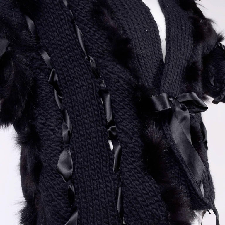 Tom Ford for Gucci Fox Fur Black Knit Chunky Sweater Jacket, 2002  For Sale 5