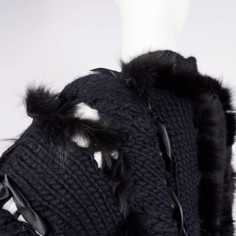 Tom Ford for Gucci Fox Fur Black Knit Chunky Sweater Jacket, 2002  For Sale 6