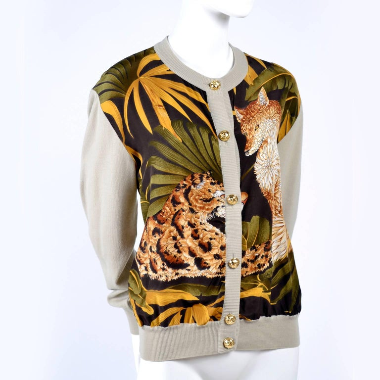 Salvatore Ferragamo Vintage Silk Scarf Print Cardigan Sweater W Animals & Leaves For Sale 10