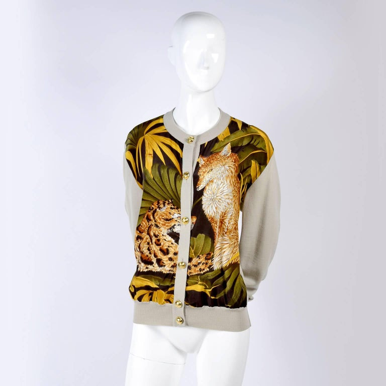 Salvatore Ferragamo Vintage Silk Scarf Print Cardigan Sweater W Animals & Leaves In Excellent Condition For Sale In Portland, OR