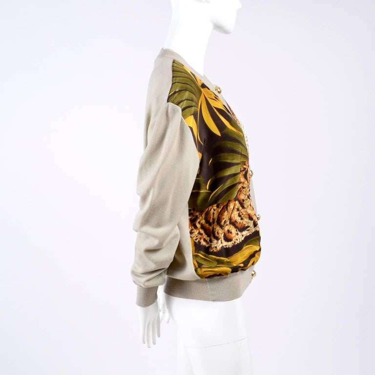Salvatore Ferragamo Vintage Silk Scarf Print Cardigan Sweater W Animals & Leaves For Sale 6