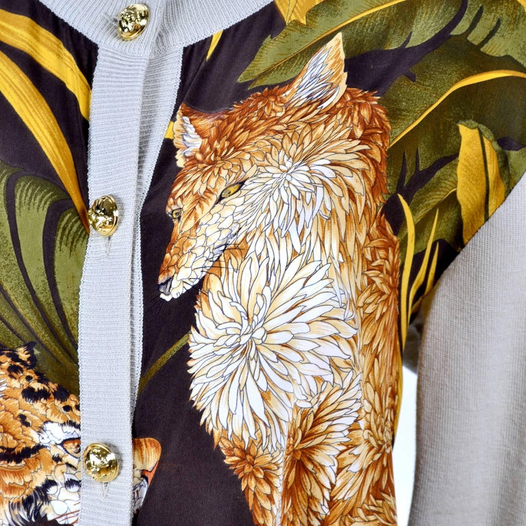 Salvatore Ferragamo Vintage Silk Scarf Print Cardigan Sweater W Animals & Leaves For Sale 7