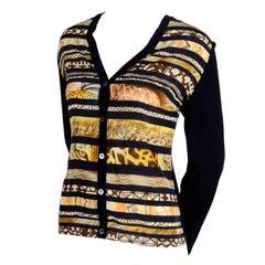 Salvatore Ferragamo Vintage Cardigan Sweater With Animal Print Silk Scarf Print