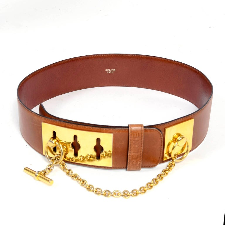 Celine Belt In Caramel Brown Leather With Gold Chain And