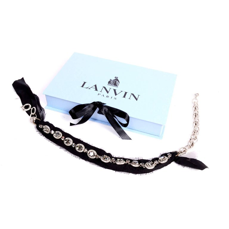 Oval Cut Lanvin Ribbon Necklace W Smokey Crystal Faceted Stones New in Original Box For Sale