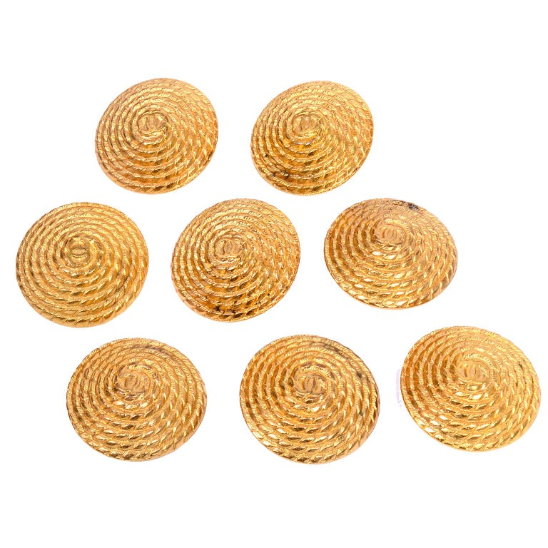 Giant Chanel Gold Metal Buttons Twisted Rope Design Set of 8 Numbered 5025