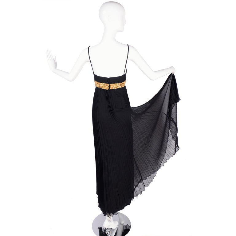 Women's 1970s Black Jean Patou Evening Gown Vintage Dress With Gold Beads & Sequins  For Sale