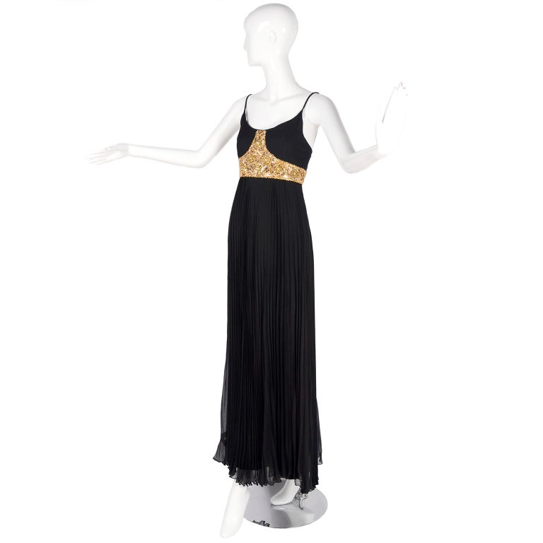 1970s Black Jean Patou Evening Gown Vintage Dress With Gold Beads & Sequins  In Excellent Condition For Sale In Portland, OR