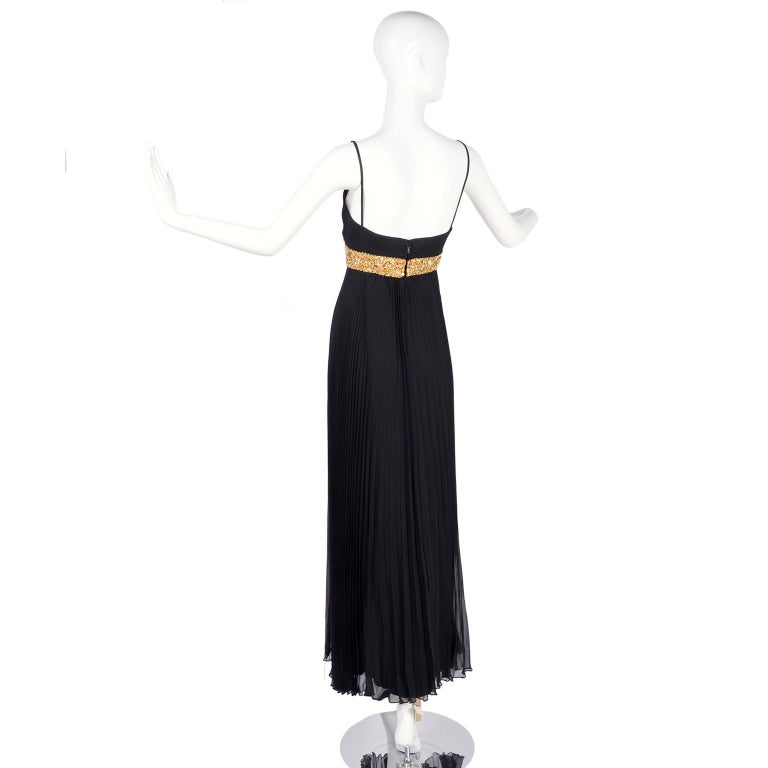 1970s Black Jean Patou Evening Gown Vintage Dress With Gold Beads & Sequins  For Sale 2
