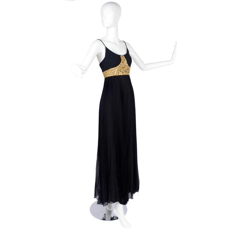 1970s Black Jean Patou Evening Gown Vintage Dress With Gold Beads & Sequins  For Sale 4