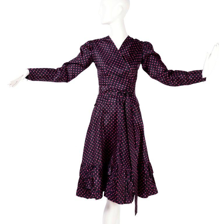 Black Saint Laurent Rive Gauche two-Piece Pink Polka Dot Ruffled Dress For Sale