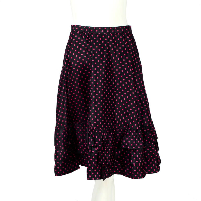 Saint Laurent Rive Gauche two-Piece Pink Polka Dot Ruffled Dress In Excellent Condition For Sale In Portland, OR