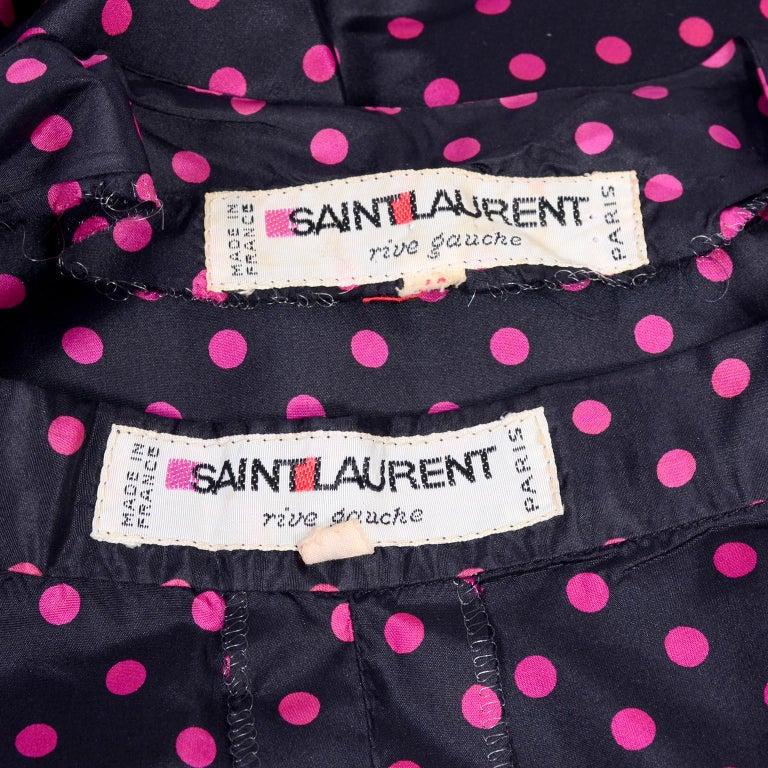 Women's Saint Laurent Rive Gauche two-Piece Pink Polka Dot Ruffled Dress For Sale