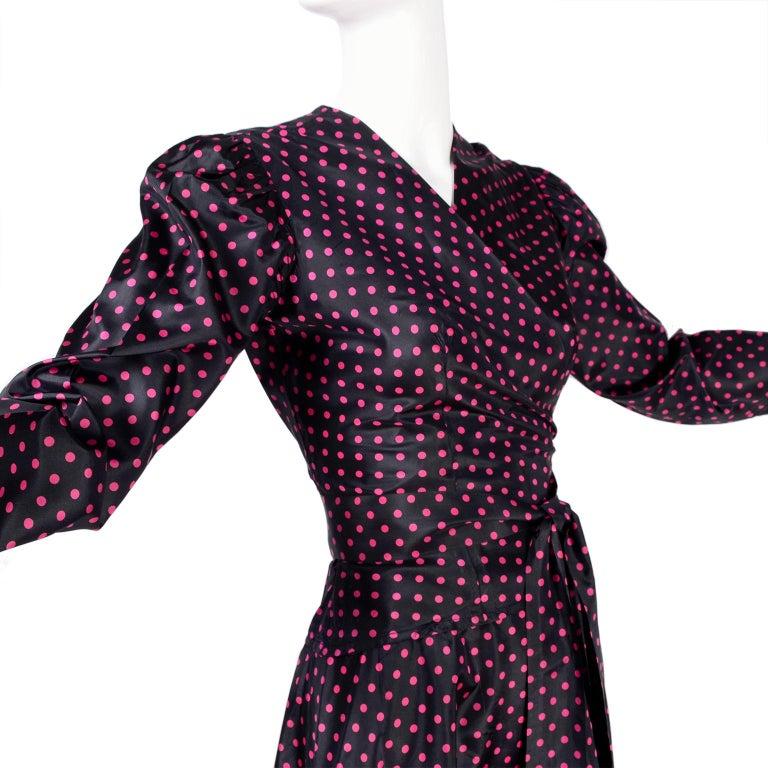 Saint Laurent Rive Gauche two-Piece Pink Polka Dot Ruffled Dress For Sale 1