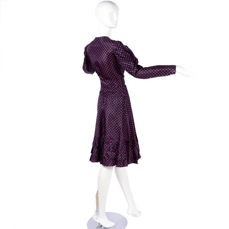 Saint Laurent Rive Gauche two-Piece Pink Polka Dot Ruffled Dress For Sale 2
