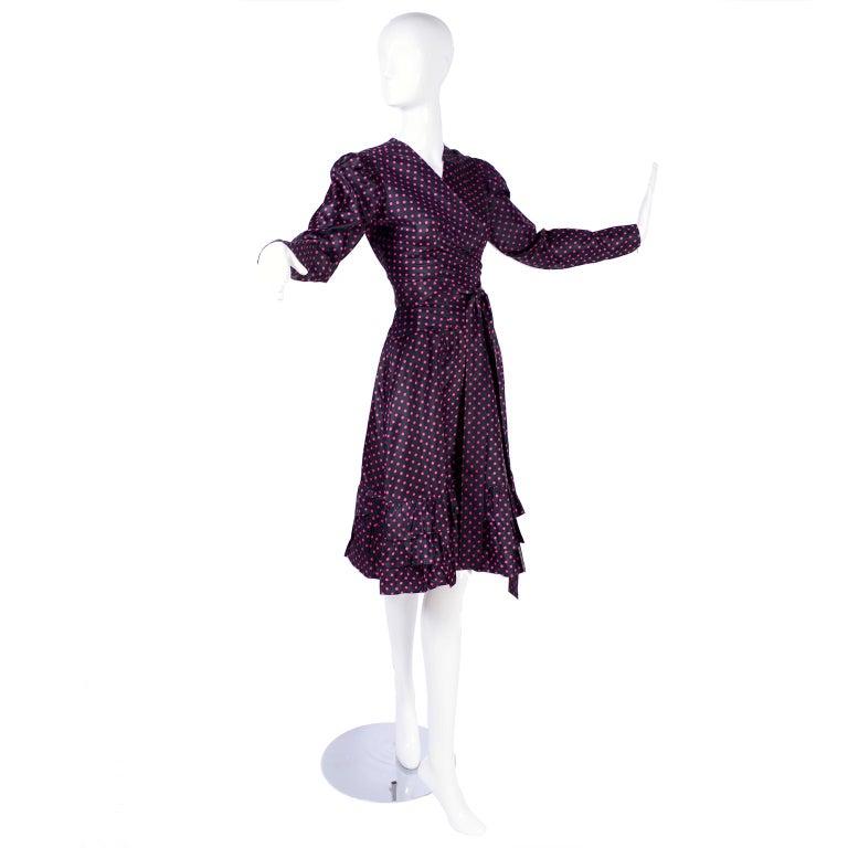 Saint Laurent Rive Gauche two-Piece Pink Polka Dot Ruffled Dress For Sale 3