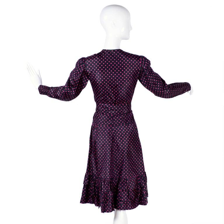 Saint Laurent Rive Gauche two-Piece Pink Polka Dot Ruffled Dress For Sale 4