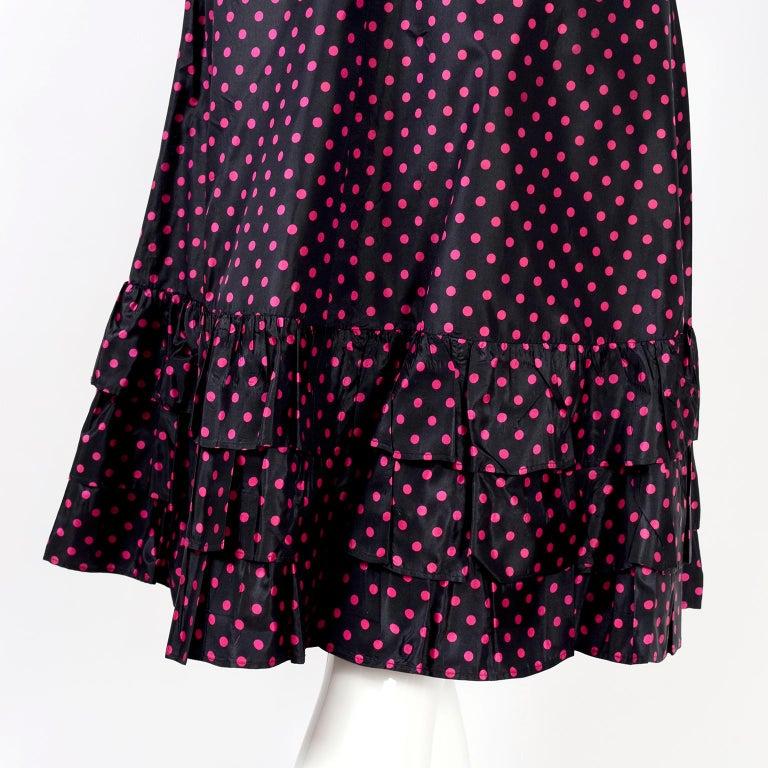 Saint Laurent Rive Gauche two-Piece Pink Polka Dot Ruffled Dress For Sale 5