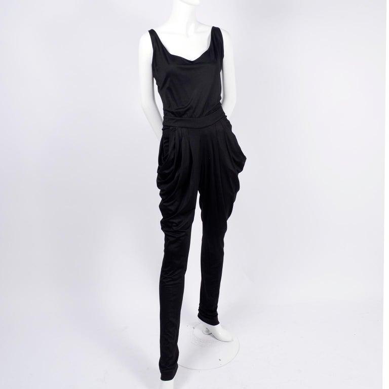 Women's 1980s Vintage Harem Style Black Jumpsuit With Gathering & Pockets w/ Low Back For Sale