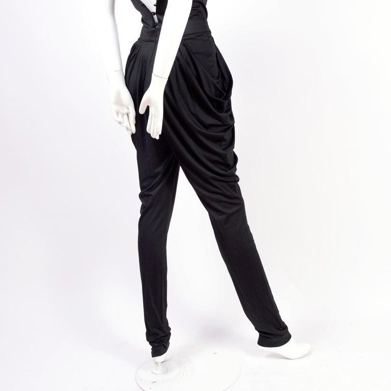 1980s Vintage Harem Style Black Jumpsuit With Gathering & Pockets w/ Low Back For Sale 1