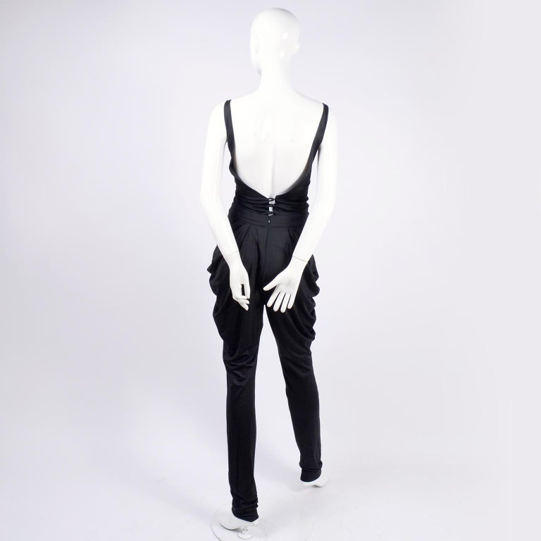1980s Vintage Harem Style Black Jumpsuit With Gathering & Pockets w/ Low Back In Excellent Condition For Sale In Portland, OR