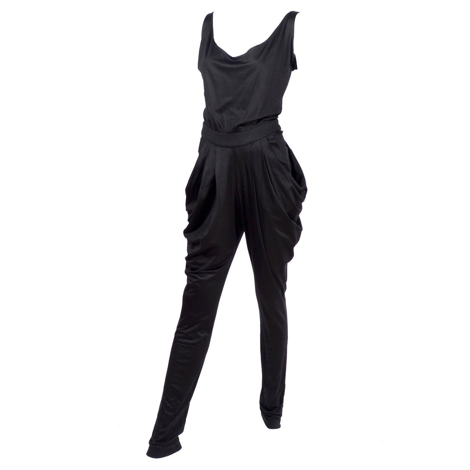 1980s Vintage Harem Style Black Jumpsuit With Gathering & Pockets w/ Low Back