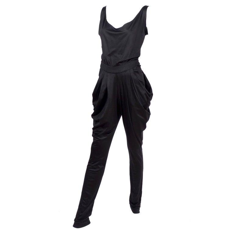 1980s Vintage Harem Style Black Jumpsuit With Gathering & Pockets w/ Low Back For Sale