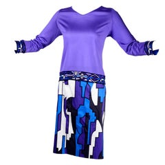 Emilio Pucci Silk Jersey 2 pc Dress Outfit W/ Top Skirt & Coordinating Scarf