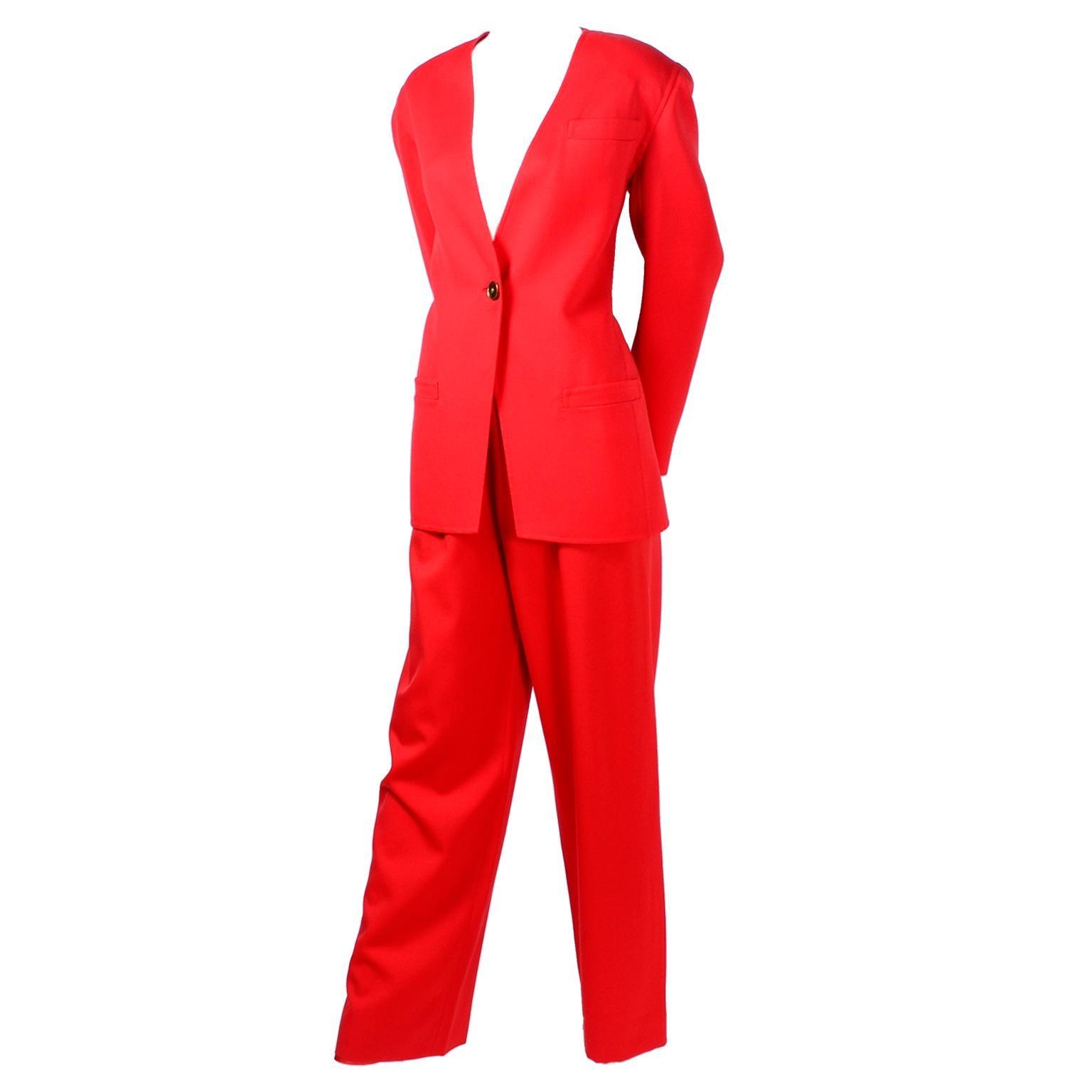3pc Vintage Bill Blass Red Orange Wool Blazer Pantsuit W/ Skirt Option I Magnin