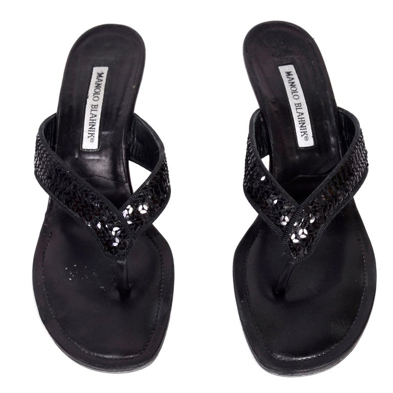 d0d977276 Manolo Blahnik Shoes Black Leather Thong Sandals With Sequins   Heels 38.5  In Excellent Condition For