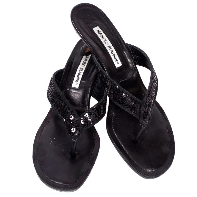 97e48d5cb Manolo Blahnik Shoes Black Leather Thong Sandals With Sequins   Heels 38.5  For Sale