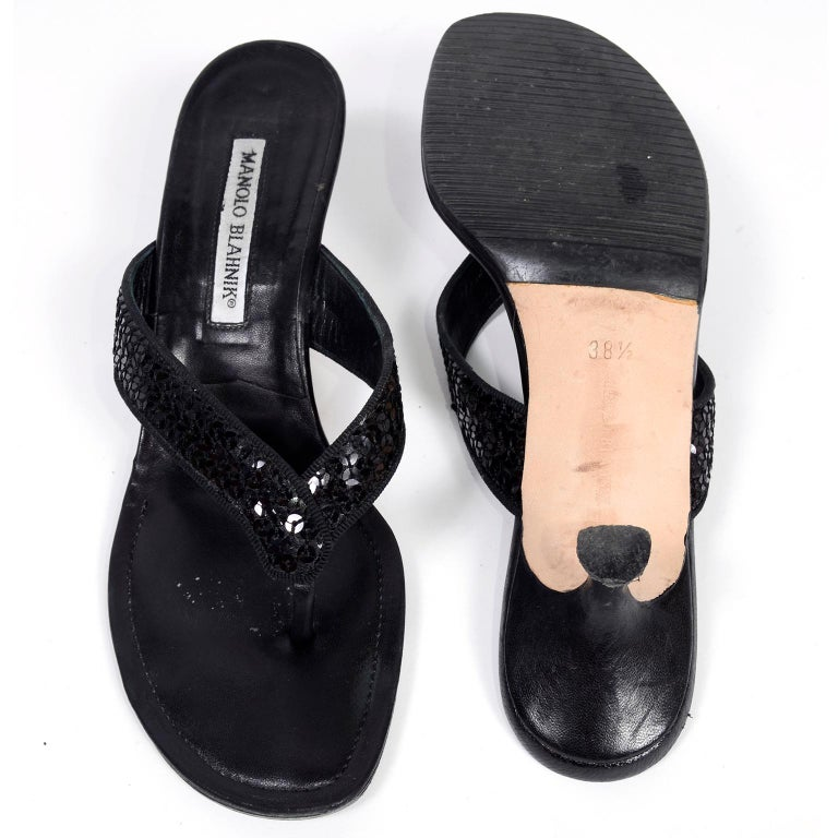 27aa6291a Women s or Men s Manolo Blahnik Shoes Black Leather Thong Sandals With  Sequins   Heels 38.5 For